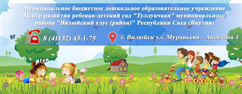 Муниципальное бюджетное дошкольное образовательное учреждение Центр развития ребенка — детский сад «Туллукчаан» муниципального района «Вилюйский улус (район) Республики Саха (Якутия)